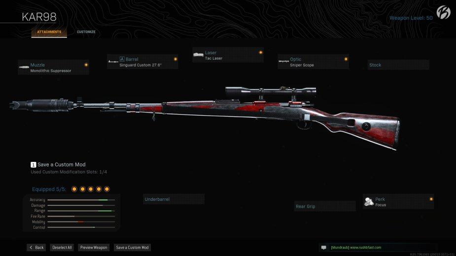 "Kar98: Monolithic Suppressor, Singuard Custom 27.6"", Tac Laser, Sniper Scope, Focus"