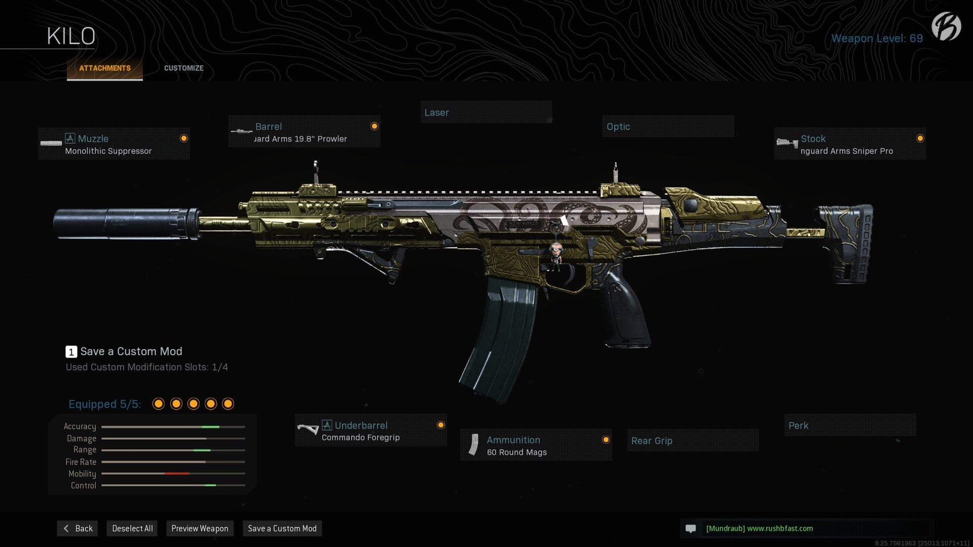 """Kilo 141: Monolithic Suppressor, Singuard Arms 19.8"""" Prowler, Singuard Arms Sniper Pro, Commando Foregrip, 60 Round Mags"""