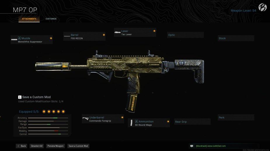 MP7: Monolithic Suppressor, FSS RECON, Tac Laser, Commando Foregrip, 60 Round Mags