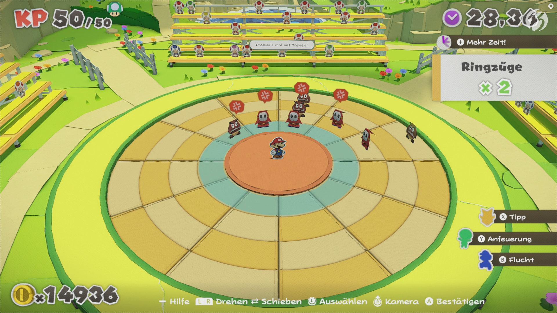 Paper Mario: The Origami King - Zu Spielbeginn sind die Zuschauerränge noch schwach besetzt.