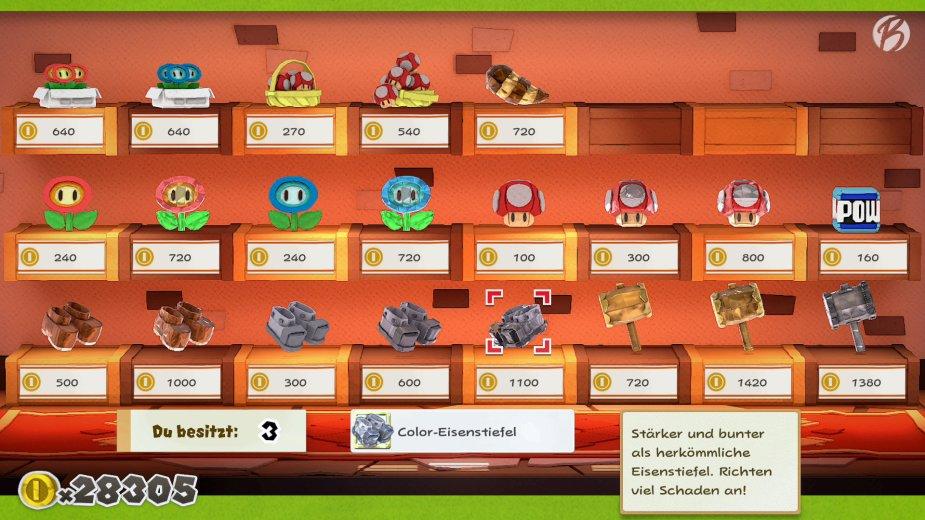 Paper Mario: The Origami King - Gehen uns auf der Reise die Items aus, helfen die zahlreichen Händler weiter.