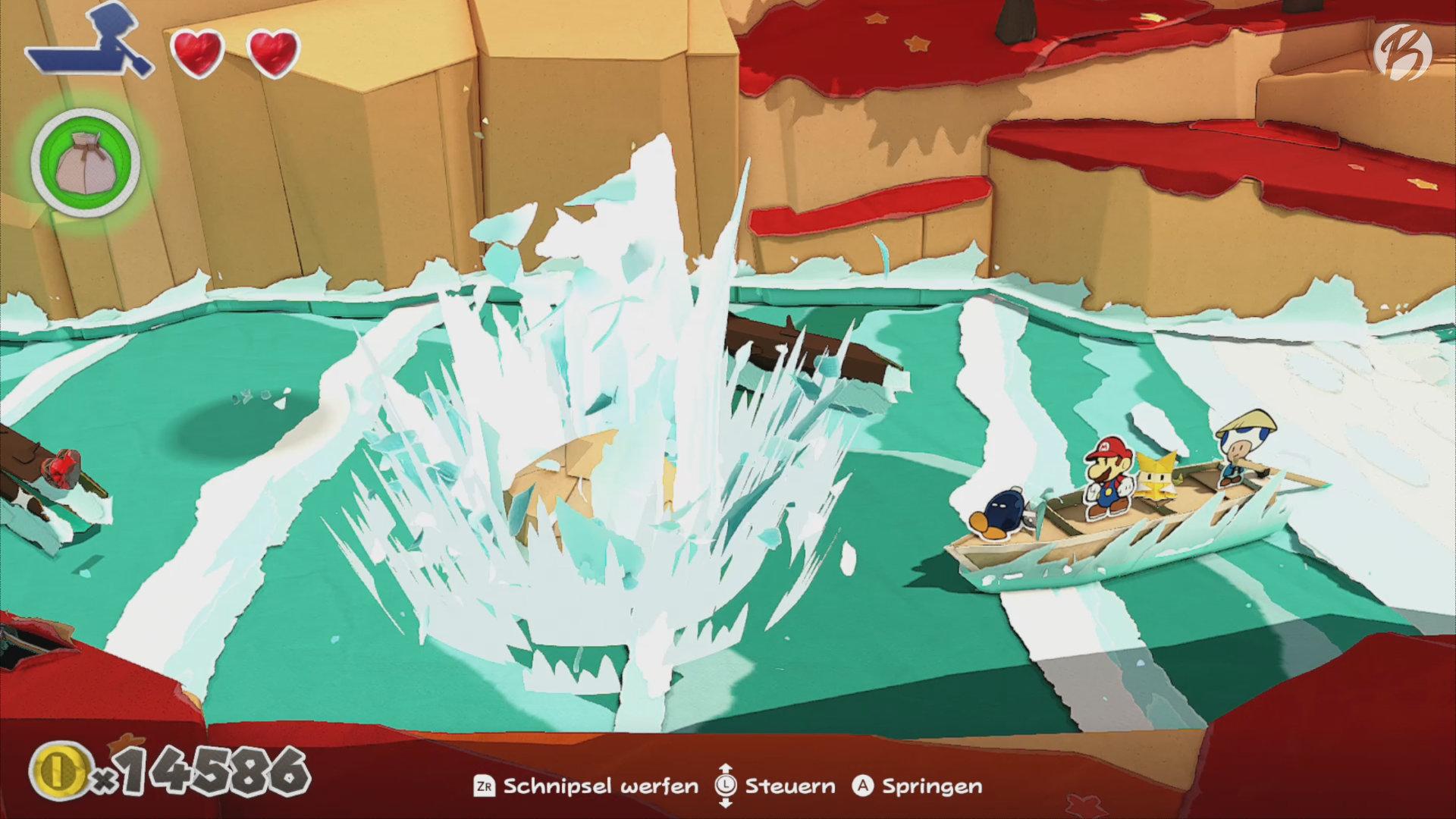 Paper Mario: The Origami King - In den Stromschnellen müssen wir schnell das kleine Boot richtig ausrichten.