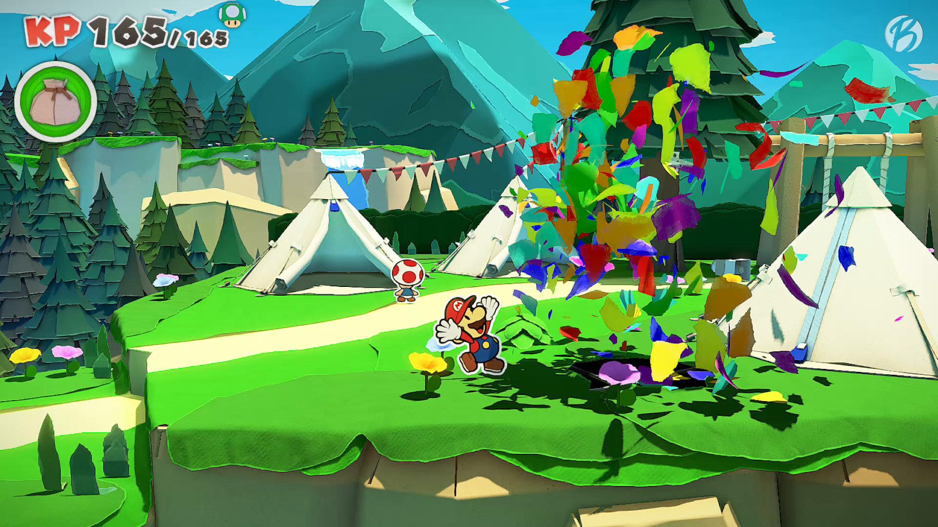 Paper Mario: The Origami King - Mit den Papierschnipseln lassen sich die grundlosen Löcher füllen.