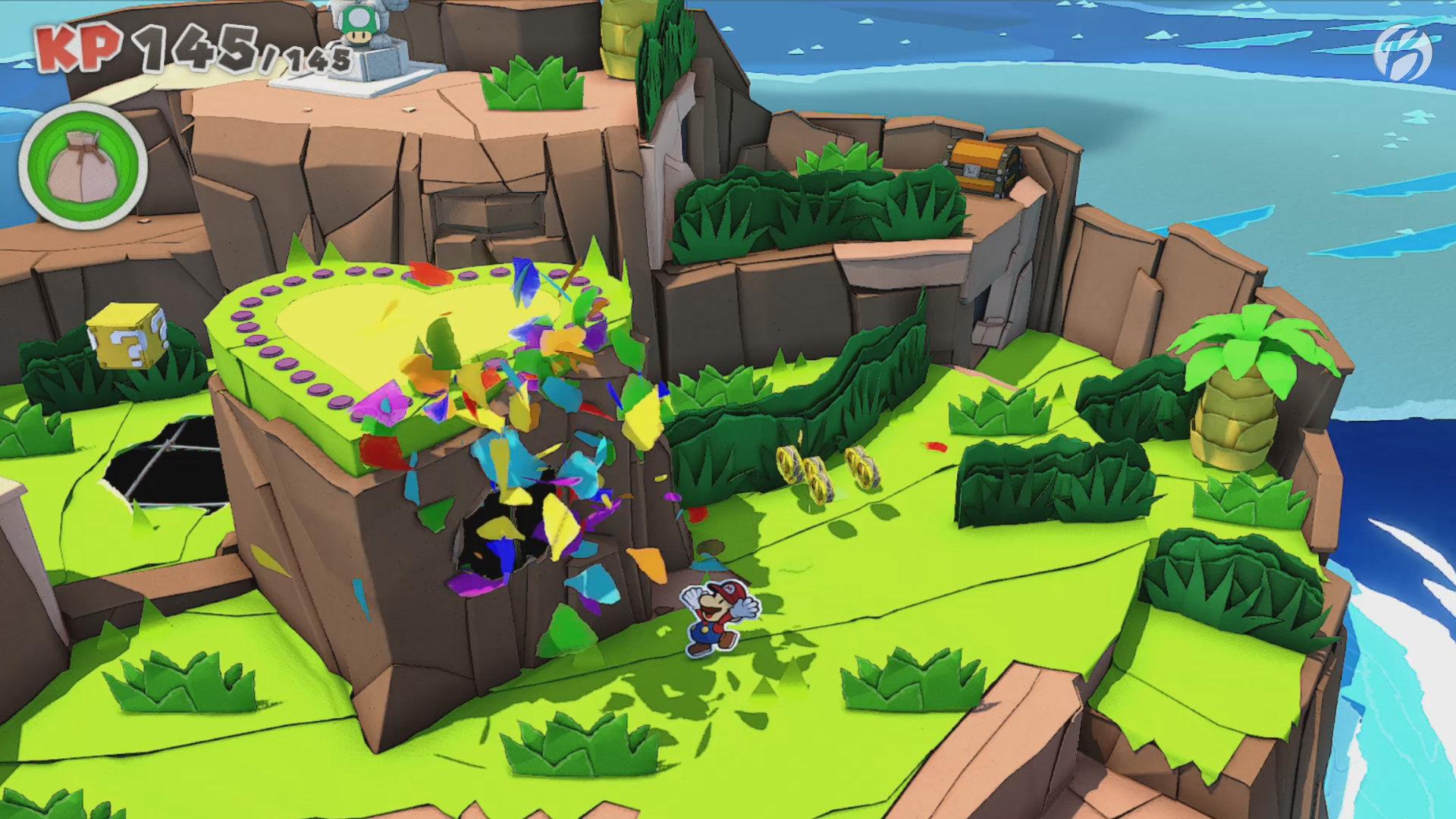 Paper Mario: The Origami King - Auf der Herzinsel mit Papierschnipseln ein Loch in der Welt reparieren.