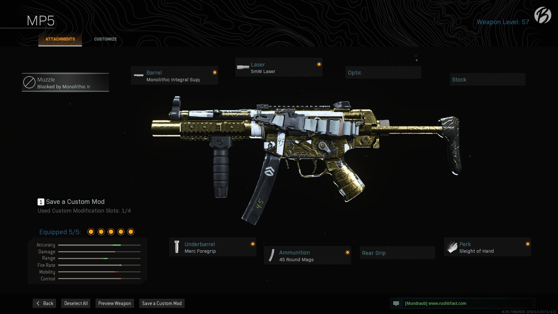 MP5: Monolithic Integral Suppressor, 5mW Laser, Merc Foregrip, 45 Round Mags, Sleight of Hand