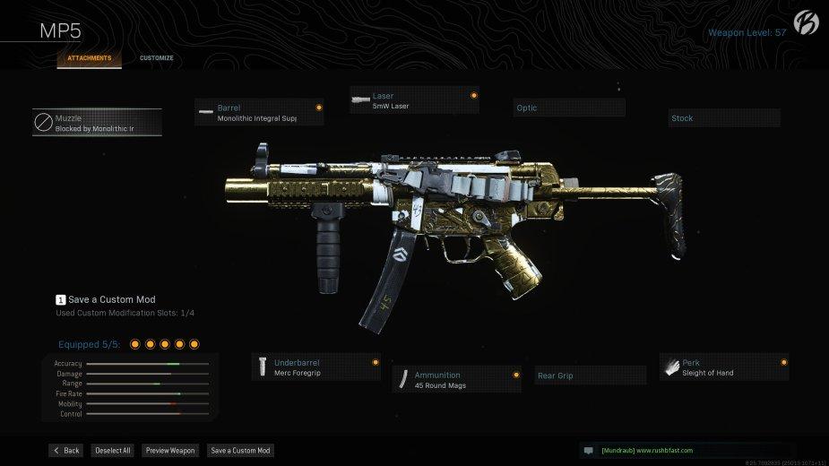 MP5: Monolithic Integral Suppressor, 5mW Laser, Merc Foregrip, 45 Round Mags, Sleight of Hand