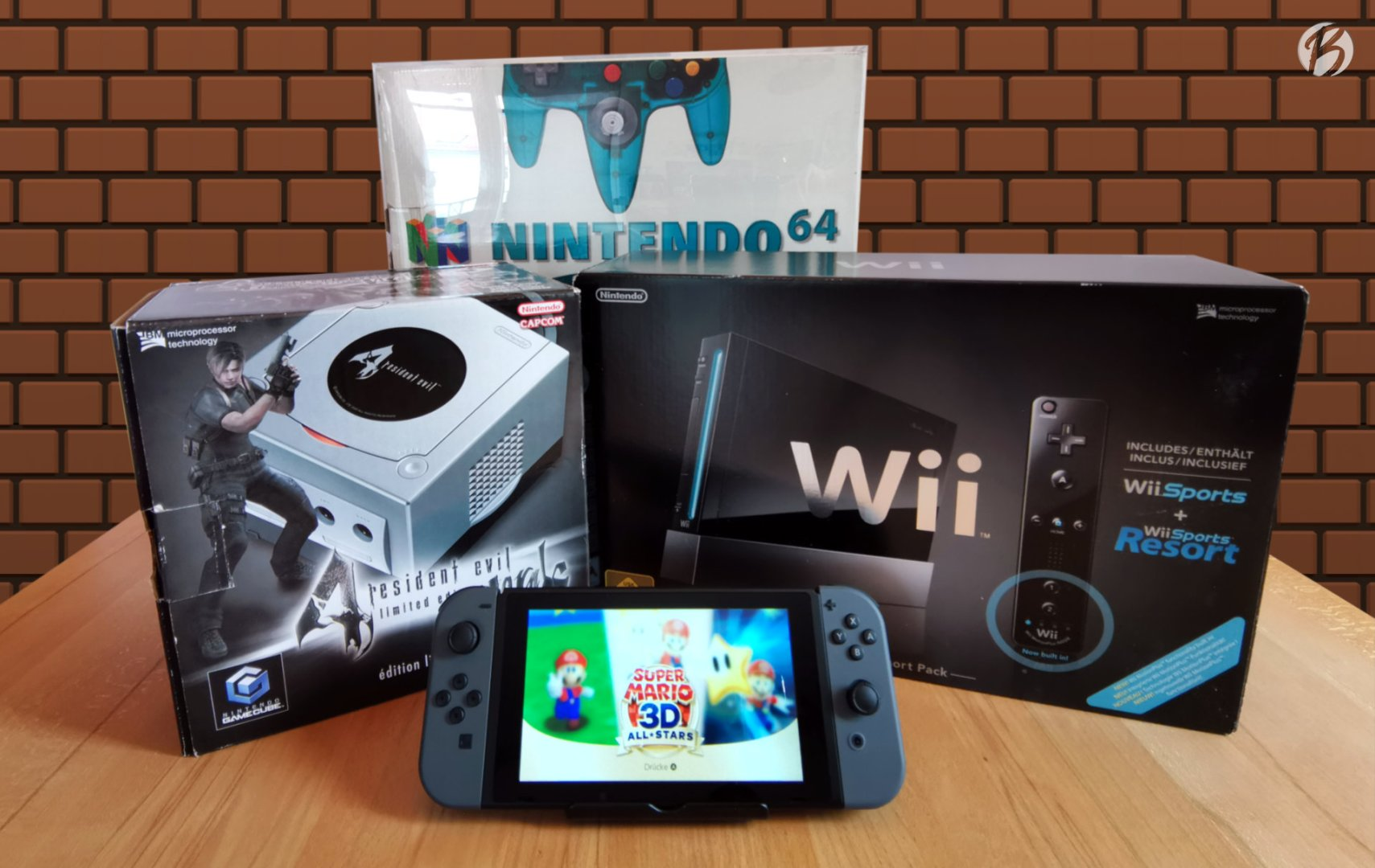 Gamecube »Resident Evil 4 Limited Edition Pack«, Nintendo Wii »Sports Resort Pack« und Nintendo 64 Ocean Blue + Nintendo Switch mit Super Mario 3D All-Stars.