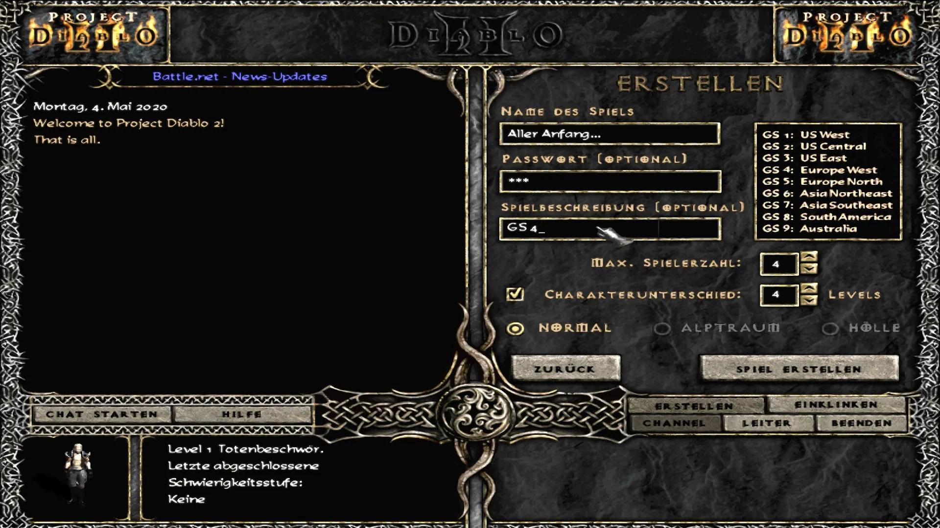 Project Diablo 2 - Spiel erstellen