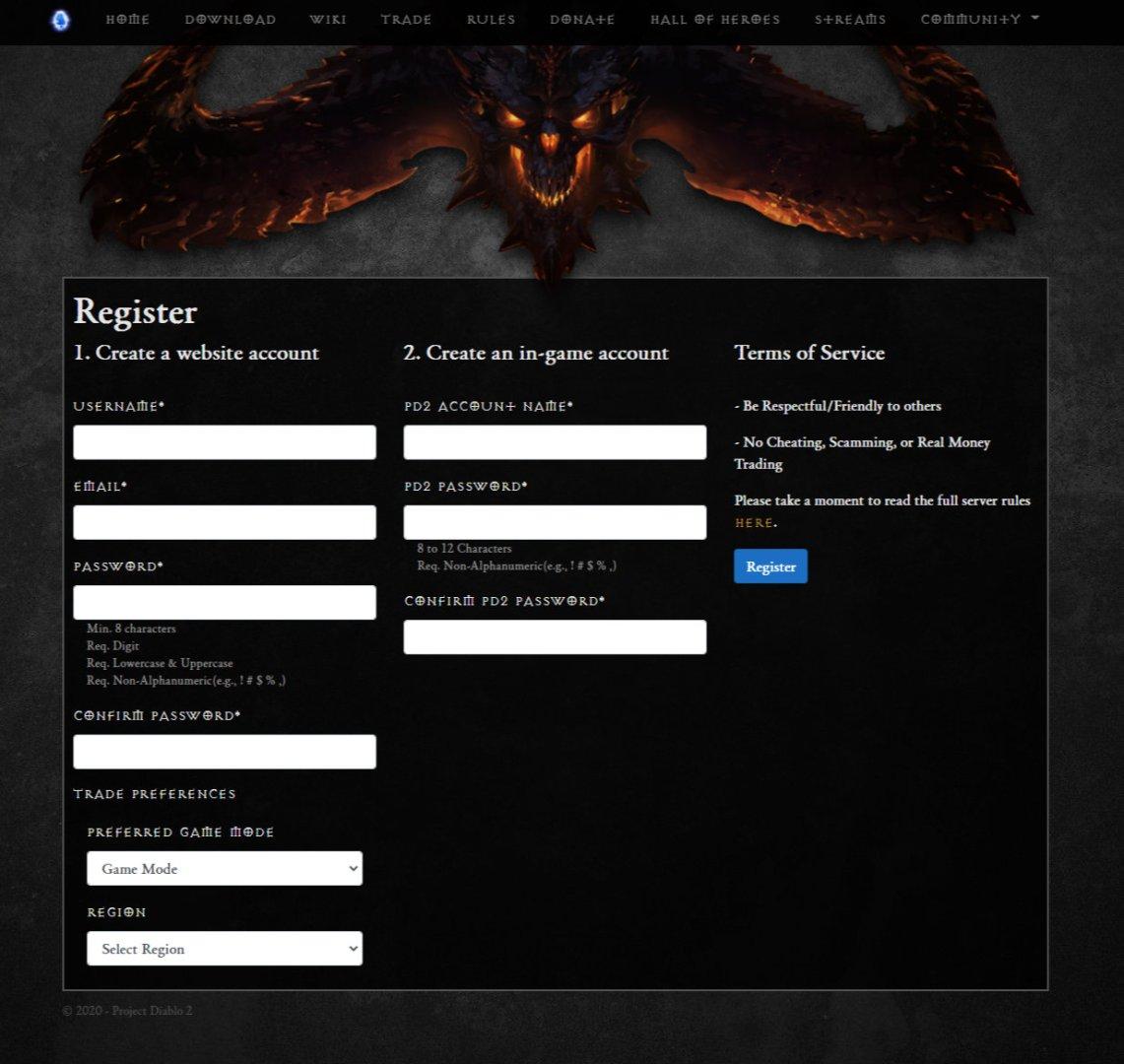 Project Diablo II - Auf der Mod Webseite registrieren