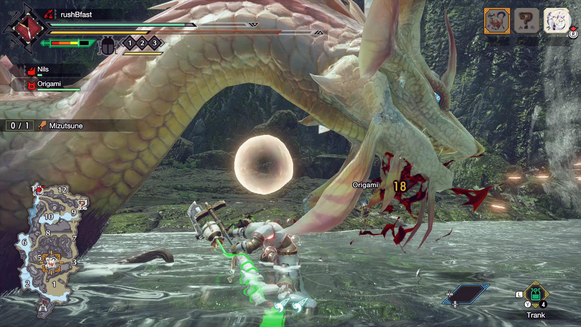 Monster Hunter Rise - Die Spezialattacke von Mizutsune sind große Kugeln, von denen manche sogar heilen können.