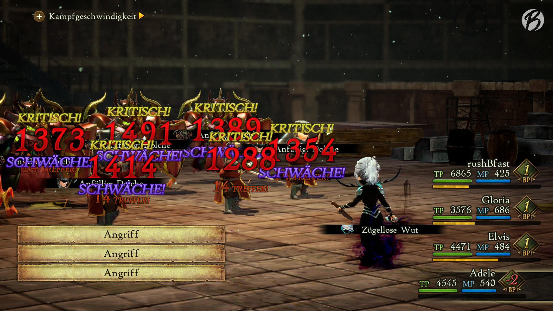 Bravely Default II - Mit bis zu vier Angriffen aneinandergereiht, lassen sich schwächere Gegner mit nur einem Gruppenmitglied blitzschnell ausschalten.