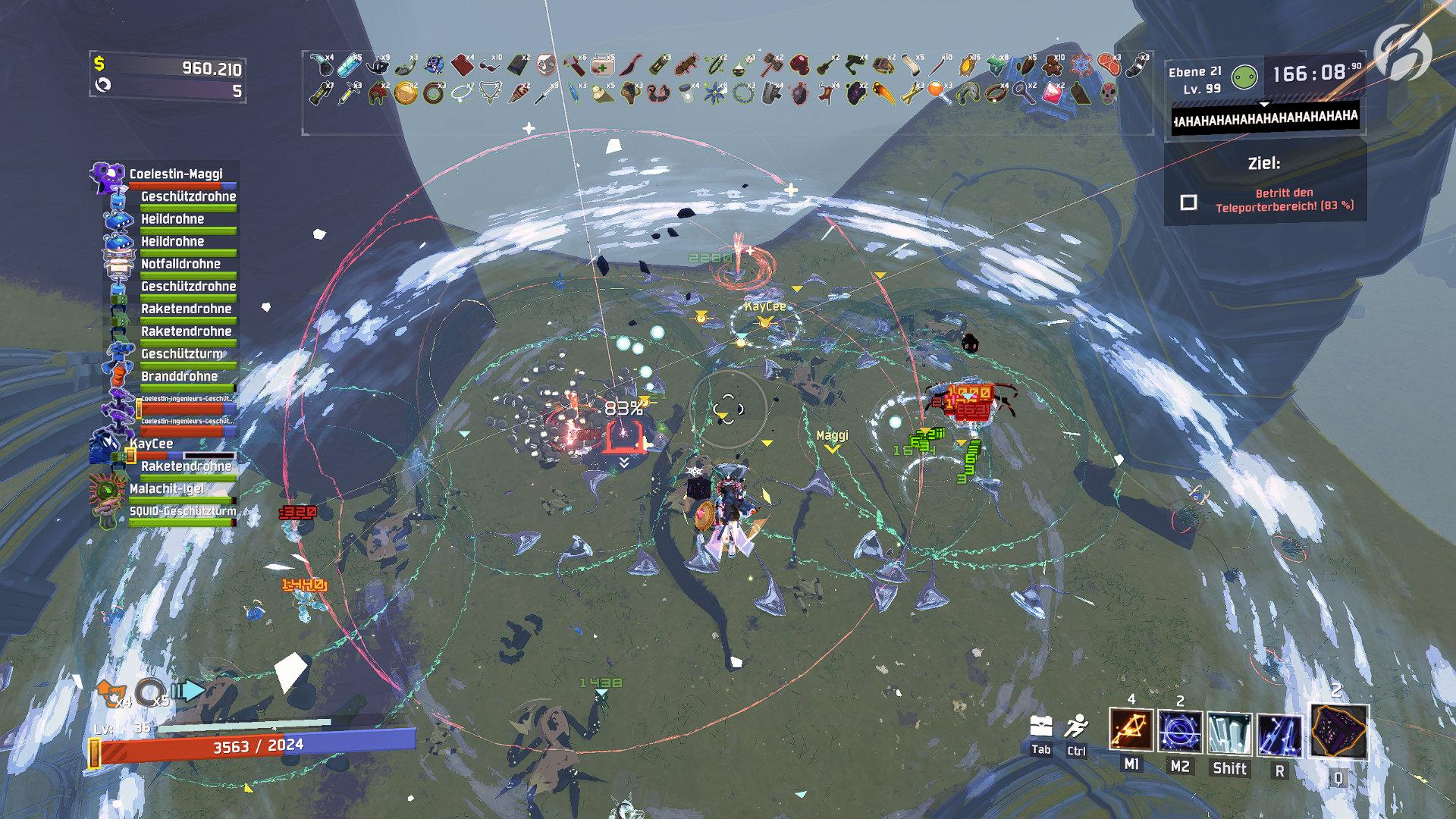 Risk of Rain 2 - Sobald der Map-Boss besiegt ist, muss man in der roten Zone bleiben, bis der Teleporter voll aufgeladen ist.