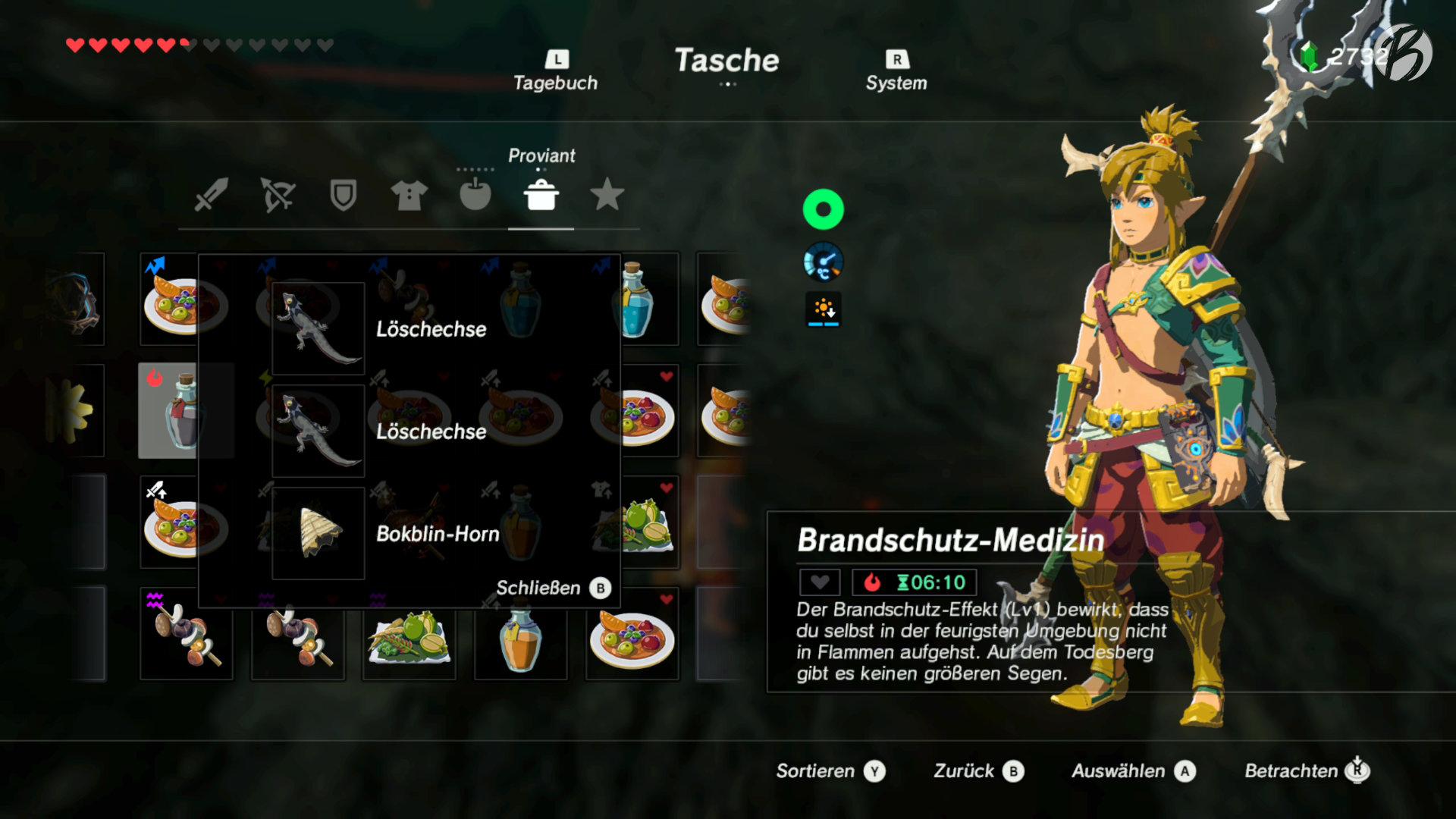 The Legend of Zelda: BotW - Hat man eine Medizin erhalten, kann man seine Zutaten auslesen und selbst herstellen.