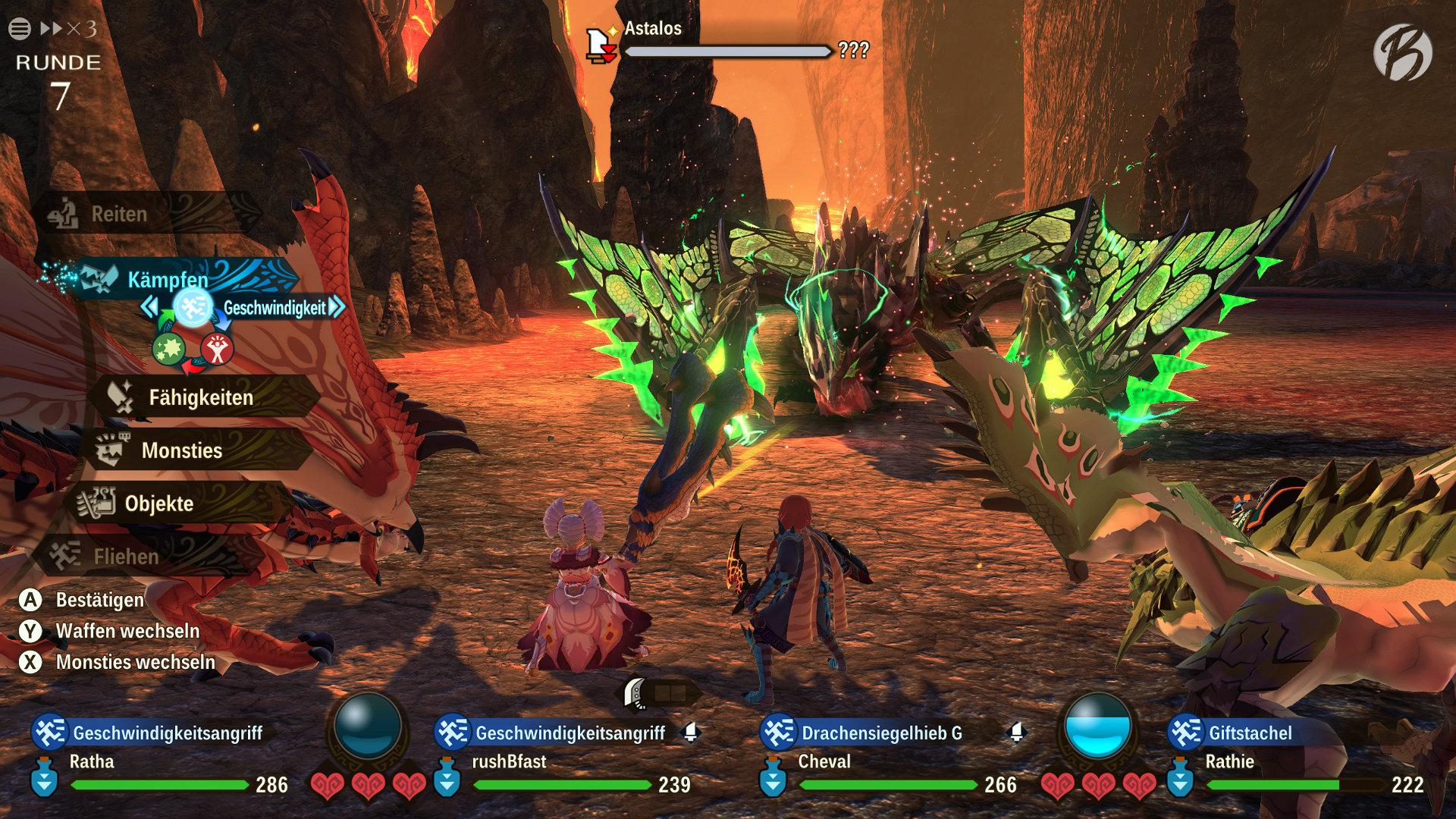 Monster Hunter Stories 2: WoR - Kampfformel: Kraft schlägt Technik, Technik schlägt Geschwindigkeit und Geschwindigkeit schlägt Kraft.