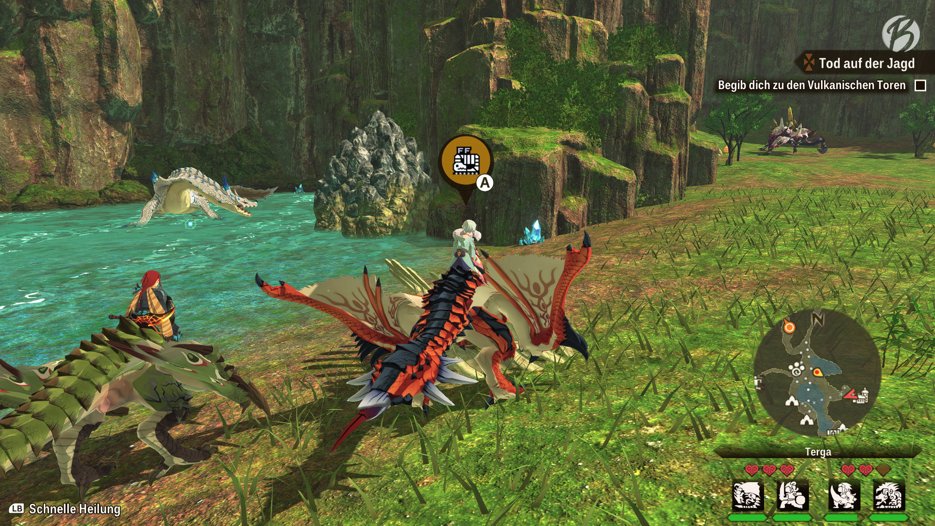 Monster Hunter Stories 2: WoR - Abhängig von der Tageszeit (Tag/Nacht) gibt es unterschiedliche Monsterbauten, Rohstoffe, Insekten und herumstreunende Monster zu entdecken.