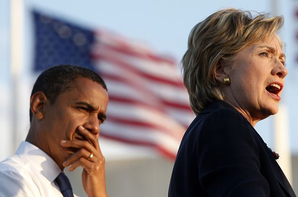 File image of US Democratic presidential nominee Senator Barack Obama (D-IL) and Senator Hillary Clinton (D-NY) attend a campaign rally in Orlando