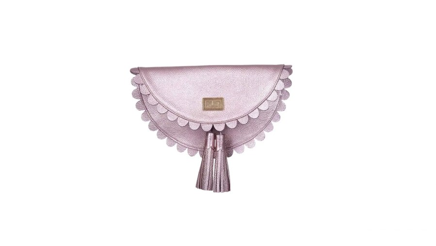 Gunmeral Silver Leather Clutch Bag