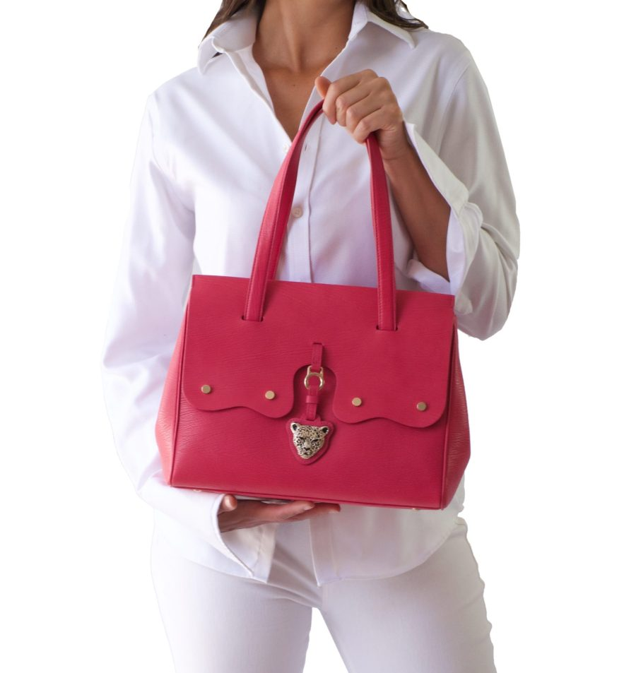 FIORE Pink Leather Bag by RusiDesigns