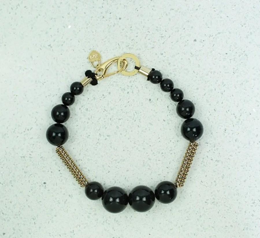 black faux pearl