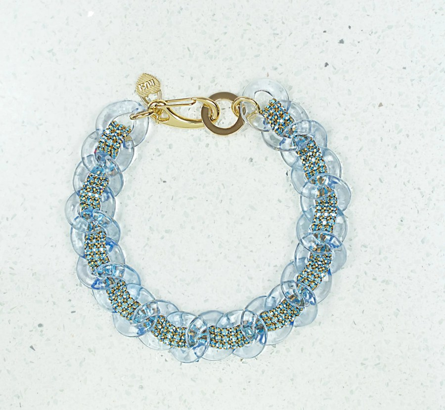 blue clear charm necklace