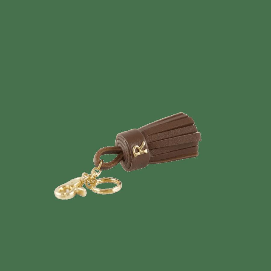 Brown Leather Tassel Keyring