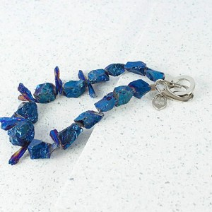 rock crystal necklace in blue