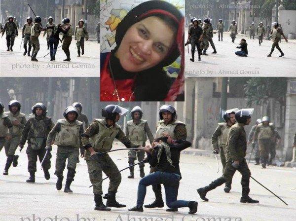 Грубо арестуване на манифестантката Гада Камал тази сутрин в Кайро.
