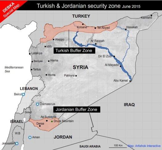 Карта, показваща буферните зони, които предлагат Турция и Йордания. DEBKA