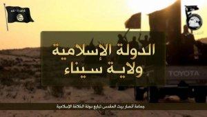"""Кадър от видео на """"Ислямска държава"""", ориентирано към Египет и в частност полуостров Синай и организацията """"Уалият Синай""""."""