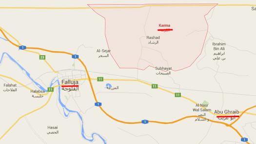 Карта с разположението на градовете Фалуджа, Абу Грайб и Ал Карма.