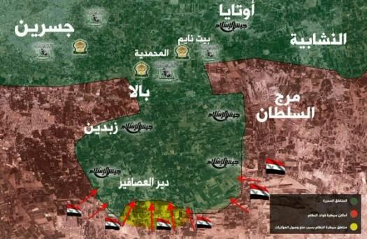 Карта, разпространена в приложението Телеграм в началото на януари, илюстрираща проблемите, причинени от многото активни фракции и евентуалната загуба на територията, използвана от Ал Рахман, Джайш ал Ислям и Джайш ал Фустат.