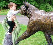 Bonnie Paige, of Lewiston, holds her son Tenzing Sage, 1, up so he can get a close look at the bronze bobcat on the campus of Bates College in Lewiston Wednesday morning where she was taking her son for a walk between rain showers.