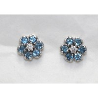 aquamarine, diamond, stud, earrings, 18ct, white, gold,