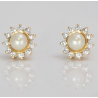 Pearl & Diamond Stud Earrings - Russell Lane