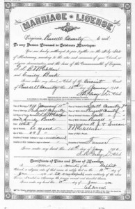 Marriage license example page