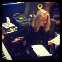 Kristi working on charts and lyrics