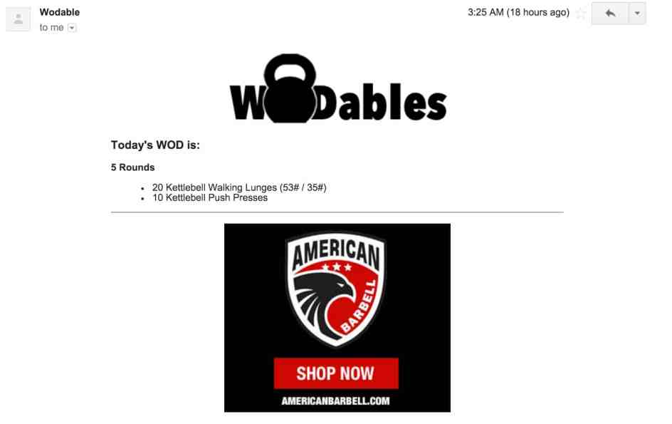 Wodables Email View