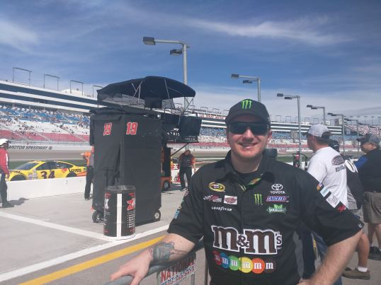 Russell Aaron in front of Kyle Busch Pitt Stall