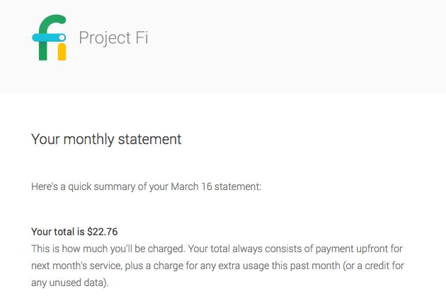 First Google Fi Bill