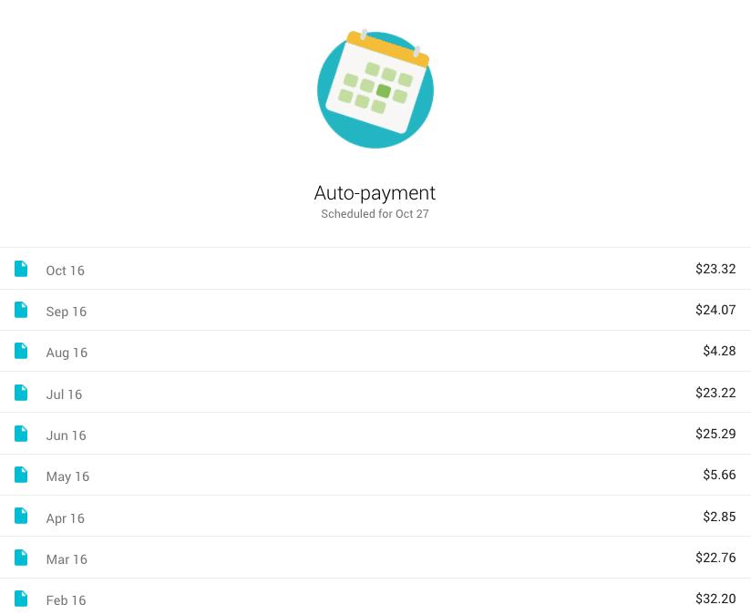 Google Fi Project Fi bill for 9 months