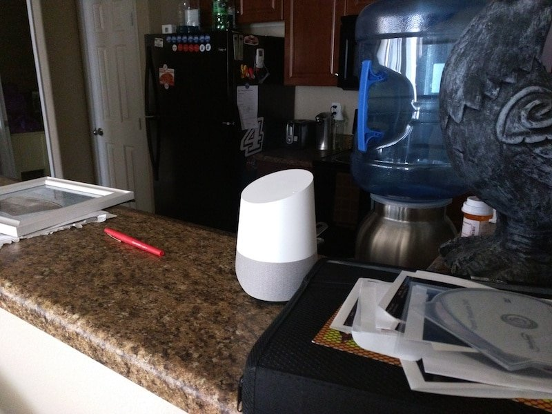 Google Home device sits on our kitchen bar