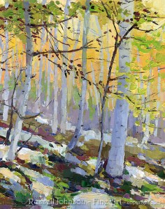 Aspen tree painting by Russell Johnson