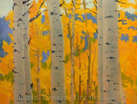 Aspen Tree oil painting by Russell Johnson