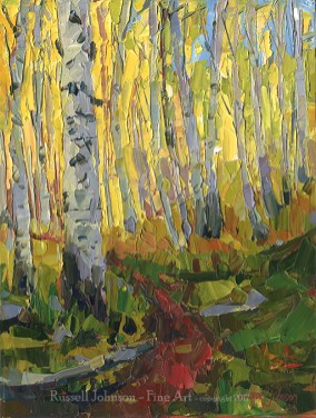 Russell Johnson aspen tree oil painter