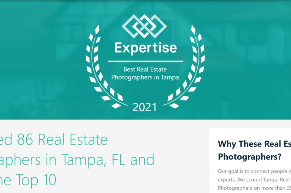 """We made the list """"10 Best Real-Estate Photographers"""" -2021 - Expertise.com"""