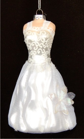 WhiteonWhite Elegant Wedding Gown  Hand Personalized Christmas Ornaments by Russell Rhodes