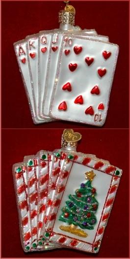 Poker Royal Flush Glass Hand Personalized Christmas