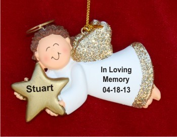Memorial Angel Male  Hand Personalized Christmas Ornaments by Russell Rhodes
