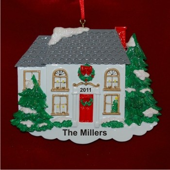 White Winter New Home  Hand Personalized Christmas Ornaments by Russell Rhodes
