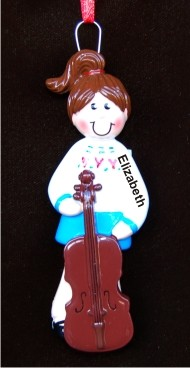 Cello Girl  Hand Personalized Christmas Ornaments by Russell Rhodes